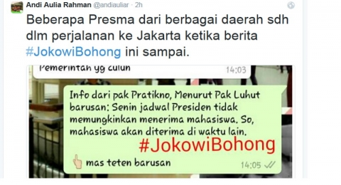 Ketua BEM UI Serukan Tagar #JokowiBohong