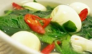 Resep Bening Bayam Telur Puyuh untuk Sahur