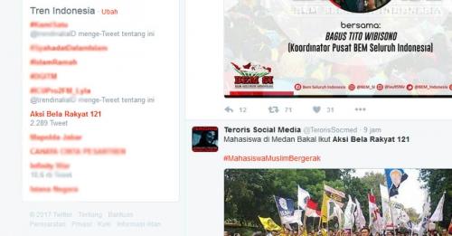 Aksi Bela Rakyat 121 Ramai di Twitter